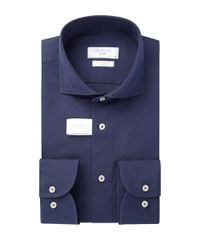Navy soft constructed overhemd