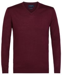 Burgundy merino v-neck