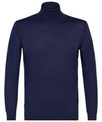 Indigo merino roll-neck
