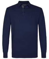 Navy knitted lange mouw polo