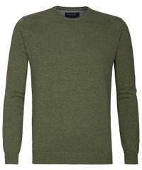 Army green crew-neck pullover