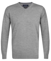 Grey melange merino v-neck