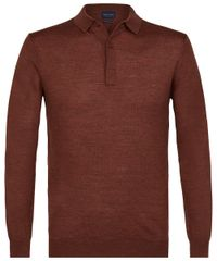 Rust long sleeve polo