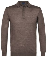 Taupe long sleeve polo