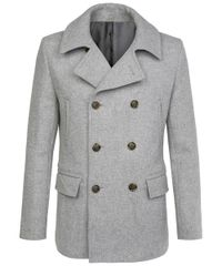 Light grey woollen peacoat