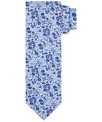 TIE COTTON SILK PRINT NAVY