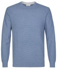 Denim structured crewneck