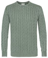 Green garment dye cable crewneck