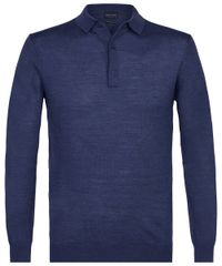 Indigo long sleeve polo
