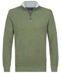Green mock-zip pullover