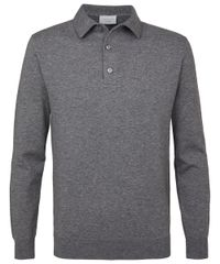 Grey melange long sleeve polo