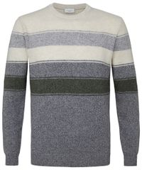 Grey striped crewneck pullover