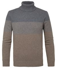 Grey brown striped roll-neck