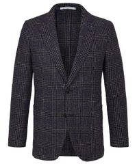 Navy brown checked jacket