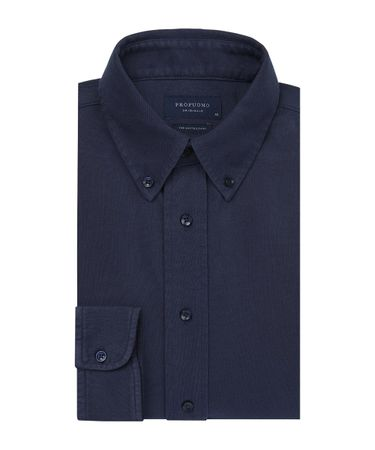 Navy garment dye knitted overhemd
