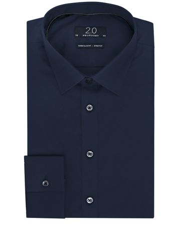 Navy super slim-fit stretch poplin overhemd