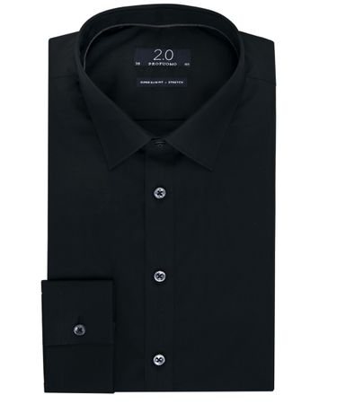 Zwart super slim fit stretch 2.0 overhemd