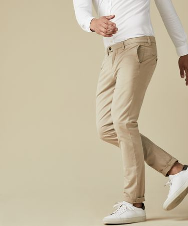 Beige garment dyed chino