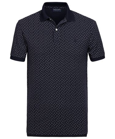 Navy geprinte katoenen polo