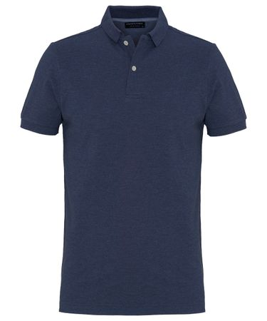 Indigo mélange cotton polo