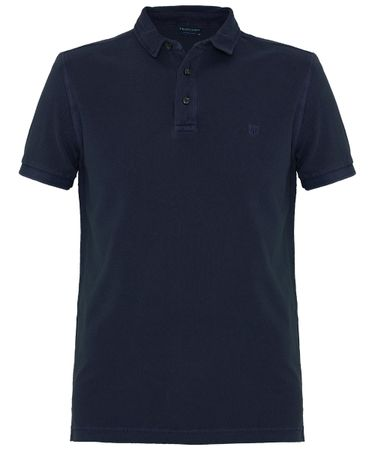 Navy garment dyed katoenen polo