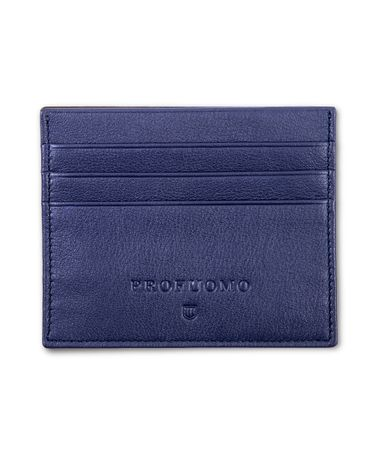 Navy lederen card wallet