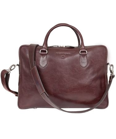 Cognac lederen laptop business tas