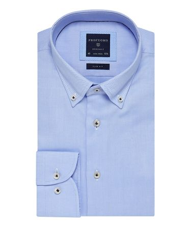 Blauw oxford overhemd button down kraag