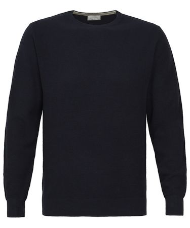 Navy 12-gauge katoenen crew-neck