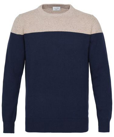 Beige slim fit navy crew-neck