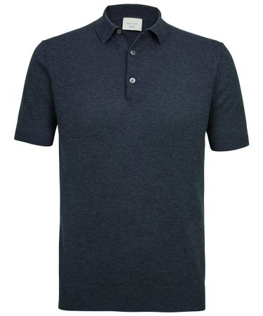 Denim gebreide polo