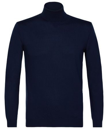 Navy merino roll-neck