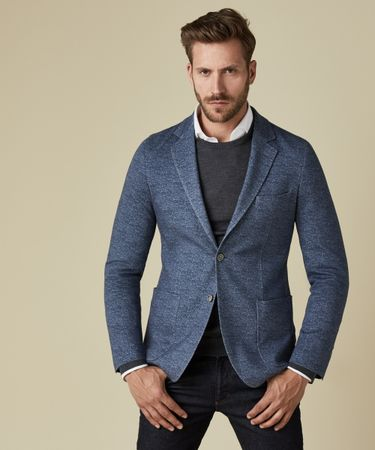 JACKET KNIT DONEGAL DENIM