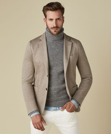 JACKET KNIT HERRINGBONE BEIGE