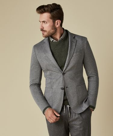 JACKET KNIT PIQUE MID GREY