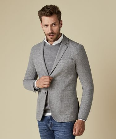 JACKET KNIT HOUNDSTOOTH MID GREY