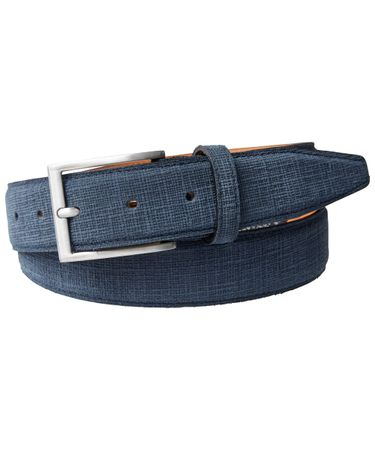 BELT EMBOSSED SUEDE MID BLUE