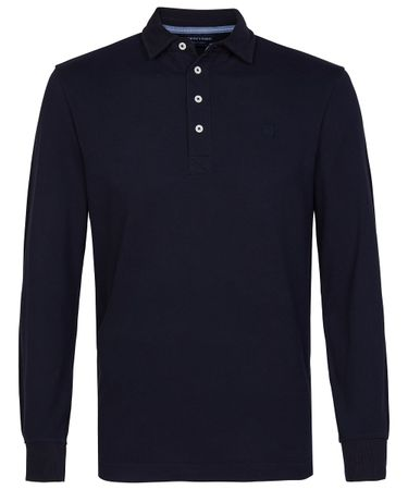 Navy piqué long sleeve polo