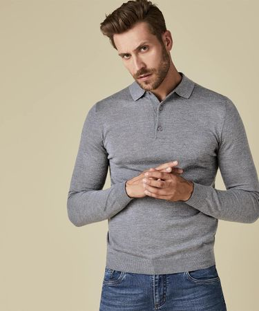POLO KNITTED LS GREY MEL