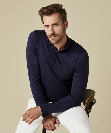 POLO KNITTED LS INDIGO