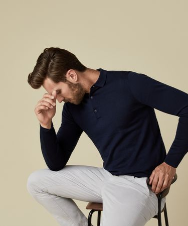 POLO KNITTED LS NAVY