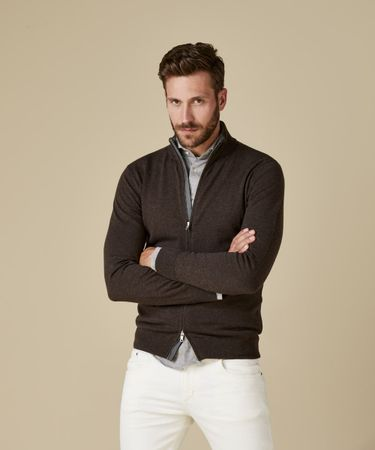 CARDIGAN ZIP BROWN
