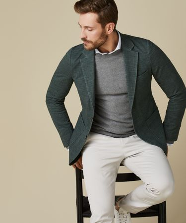 JACKET KNITTED HOPSACK GREEN