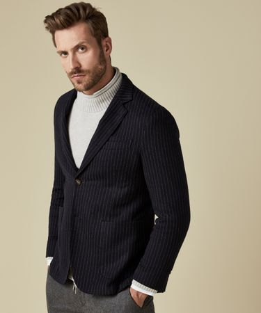 JACKET KNIT PINSTRIPE NAVY