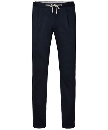 Navy knitted sportcord trousers