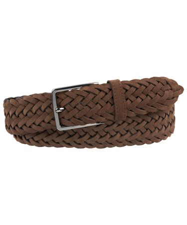 BELT HANDBRAIDED SUEDE LT BROWN