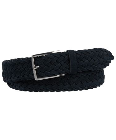 BELT HANDBRAIDED SUEDE NAVY