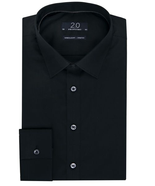 We Slim Fit Overhemd.Profuomo Black Super Slim Fit Stretch 2 0 Shirt Shirts