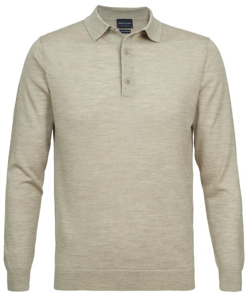 0a32f7440 Profuomo® | Beige long sleeve polo - Polos